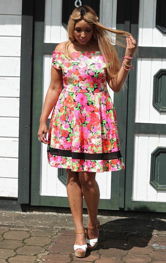 Neon Floral off shoulder skater dress