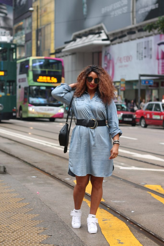 Denim dress for curvy woman